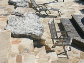 Pool deck rock work